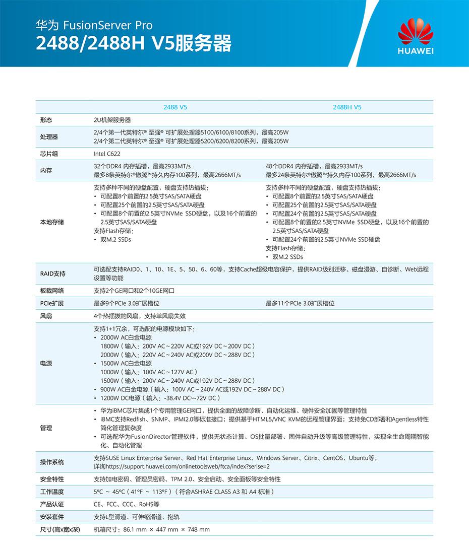 FusionServer Pro 2488 V5机架服务器